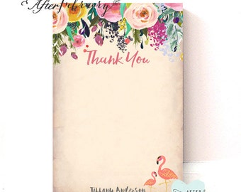 Personalized Flamingo Thank You Card // Flat Thank You Card Front Side Only  // Printable OR Printed No.94BABY
