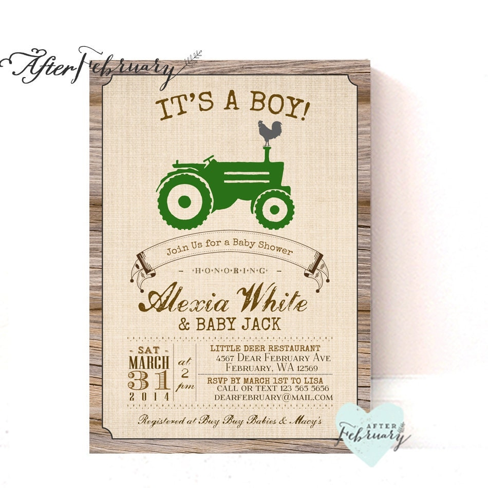 Green Tractor Baby Shower Invitation // Rustic Wood Brown //