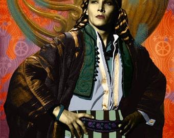 Limited Art Print of claudio Patacchiola - Valentino / The Seik - cm. 100 x 200 - Inches 40 x 78.8 -Digital image.