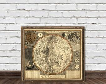 Vintage Celestial map  -  Southern  Celestial Hemisphere  Map - Fine print