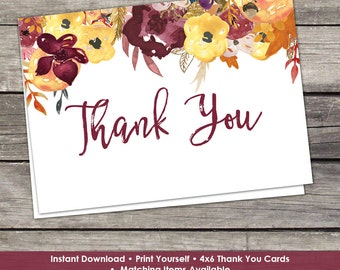 Fall Floral Bridal Shower Folded Thank You Cards - 4x6 Thank You Cards - Favors - Instant Download Bridal-101