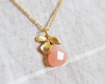Coral stone and Orchid flower necklace,  Coral peach stone, Bridesmaid necklace, Bridesmaid gift, Everyday necklace, Wedding necklace