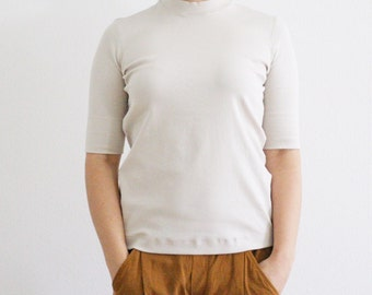 90s MARC CAIN gray ribbed stretchy mock turtleneck t-shirt