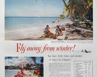 1953 Pan American Airline Ad - Fly Away From Winter - Tobago Island Vacation - 1950s Tropical Island Travel Ad