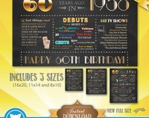 60th Birthday 1956 Chalkboard Poster, 60 years ago in 1956, Chalkboard Poster Sign, Instant Download Digital File, 60th Birthday Gift,