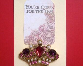 Vintage Jeweled Crown Pin Brooch