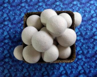 6 Natural White Wool Dryer Balls 100% Organic Natural Laundry Softener for Softening Laundry, Eco Merino wool handmade Eco friendly living