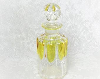 Art Deco Perfume Bottle Valambert/ Luxval Collection/ Val Saint Lambert/ Crystal Glass Yellow/ Made in Belgium