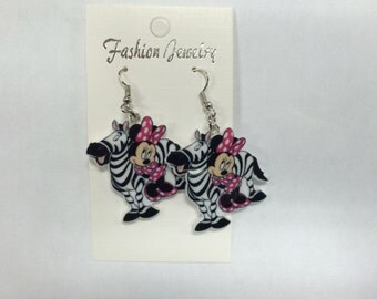 Minnie Mouse with Zebra Hypo Allergenic Dangle Earrings