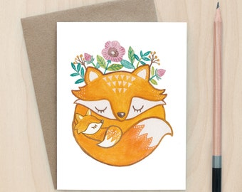 Mother Fox - A2 Greeting Card