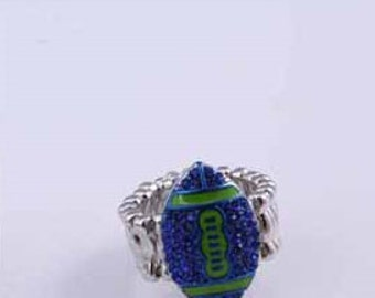 Elastic lime/royal blue football ring
