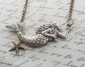 Mermaid Necklace, Silver Necklace, Mermaid Gift, Mermaid Jewelry, Beach Necklace, Beach Jewelry Gift, Beach Gift, Bronze Chain