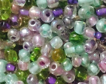 6/0 Seed Beads...Lavendar/Green Mix 4oz