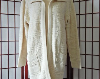 Open Front Cardigan Sweater Vintage 1970's Milrank Off White Knit Hippie Boho  200-80