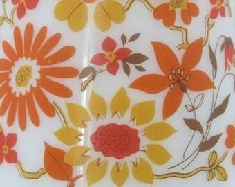 Arcopal pitcher, arcopal jug, orange flower design, retro glassware, floral pitcher, milkglass, breakfast set, French vintage, 1970's retro,