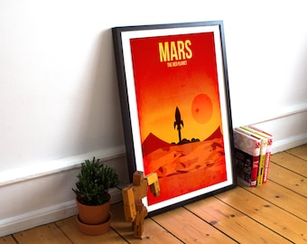 Mars Print - The Red Planet - Solar System Print - Minimalist Wall Art - Nursery Art - Planet Art - Solar System Poster - Kids Wall Art