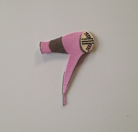 Pink Hairdryer Iron on Patch
