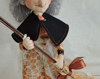 Cloth Art Doll, Witch with Gray Hair