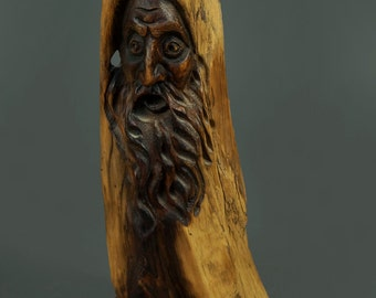 1985 Wooden Sculpture Old Man Face Head Face Art Hand-Made Vintage
