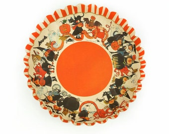 1960s Pressed Paper Halloween Pare Bowl Hallmark HDP 6-5 Made In Western Germany Vintage Mid Century Witches Black Cats Witchcraft Magic