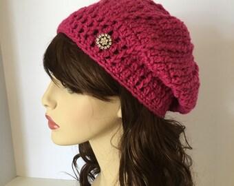 Raspberry Beret, Women's Beret, Women's Tam, Crochet Women's Hat, Fall Hat, Winter Hat, Slouchy, Teen Beret, College Hat, Beanie, Tam