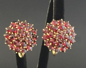 Late Victorian Bohemian Garnet Earrings Free Conversion to 14K Pierced