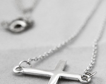 Sterling Silver Cross Necklace, Silver Cross Necklace