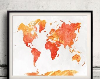 World map in watercolor 18 - Fine Art Print Glicee Poster Decor Home Gift Illustration Wall Art Countries Colorful - SKU 2331
