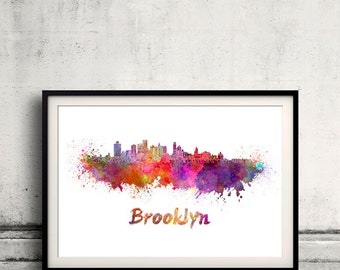 Brooklyn skyline in watercolor over white background with name of city - SKU 1709