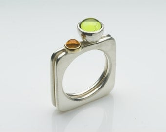 Pair of Square rings: Peridot and Citrine