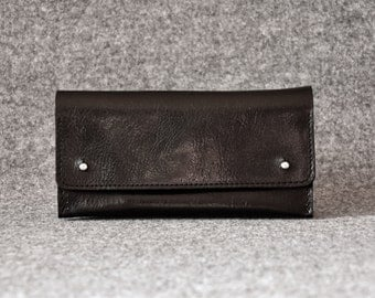 Womens Wallet - Black Leather Clutch - Leather Purse, Clutch Bag, Leather Pouch, Gift For Her