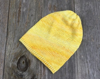 Yellow Sparkle Beanies for Adults - Knit Skull Cap - Winter Hat - Tuque - Men Women