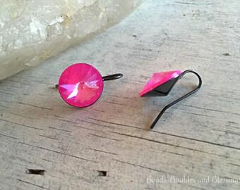 Pink Crystal Drops, Swarovski Crystal Earrings, Hot Pink Earrings, Neon Pink Crystal Earrings, Wedding Earrings, Bridesmaid Earrings