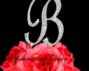 Monogram Large initial Letter B or A cake topper rhinestone bling crystal wedding cake jewelry Birthday engagement party cake decor