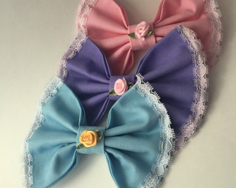 Hair Bow/Women's Fashion Accessory -- Pastel with Lace