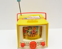Vintage Fisher Price Yellow Double Screen Music Box TV Mary Had a Little Lamb 1960s Toy