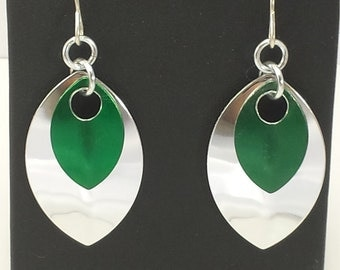 Green and Silver Scalemail Earrings