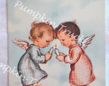 Vintage Christmas Card  - Angel Children and Candles - Unused Rust Craft Marjorie Cooper