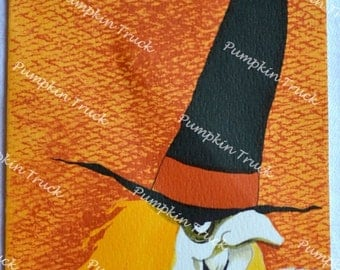 Vintage Halloween Greeting Card - 1960s Witch - Used Slim Jims