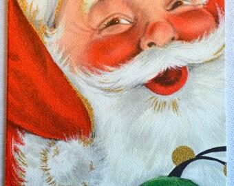 Vintage Christmas Card - Jolly Santa Claus - Unused Hallmark