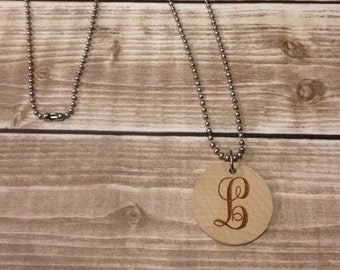 Single Curly Letter Monogrammed Wood Disc Engraved Necklace