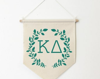 ΚΔ / Kappa Delta Wreath Wall Banner, ΚΔ, Sorority Wall Hanging, Sorority Gift, Greek Letters, Pennant, Wall Flag, Dorm Decor
