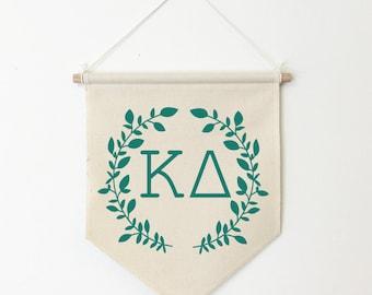 Kappa Delta Wreath Wall Banner, ΚΔ, Sorority Wall Hanging, Sorority Gift, Greek Letters, Pennant, Wall Flag, Dorm Decor