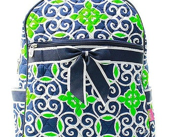 Geometric Print Quilted Monogrammed Backpack Navy Blue and Green