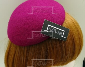 ELEGANT x TRENDY Fashion Plain Wool Felt Mini Beret Fascinator DIY - Magenta