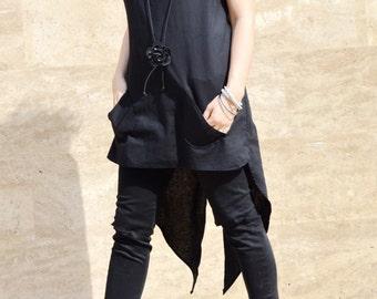 Unique Black Top/ Extravagant  Tunic Top/ Short Sleeve Shirt/Futuristic Womens Shirt/ Black art top/ Zen Top ZM156