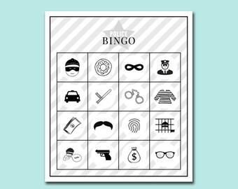Police Printable Bingo Game - Police Birthday Party Printables - Police Party Bingo Game - Police Officer Game - Kids Police Party Game
