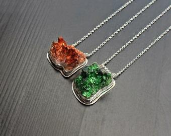 Green Organic Druzy Necklace, rough crystal, rock necklace, metallic necklace, bold jewelry, bezel druzy, druzy rock, crystal necklace, big