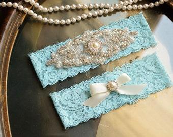 Blue Wedding Garter, Blue Bridal Garter, Blue Lace Garter, Toss Garter,  Pearl Wedding Garter, Something Blue Wedding Garter, Blue Garter