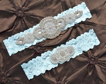 Blue Lace Wedding Garter, Blue  Bridal Garter, Lace Garter, Toss Garter, Blue  Rhinestone Wedding Garter, Something Blue, FifthAvenueBridal